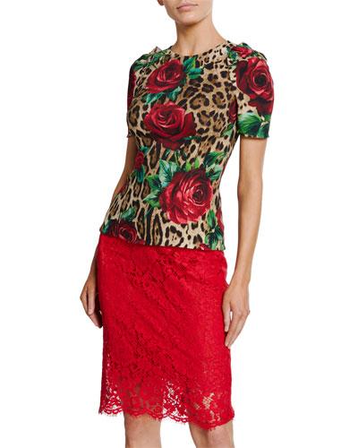 Rose & Leopard Print Short-Sleeve T-Shirt
