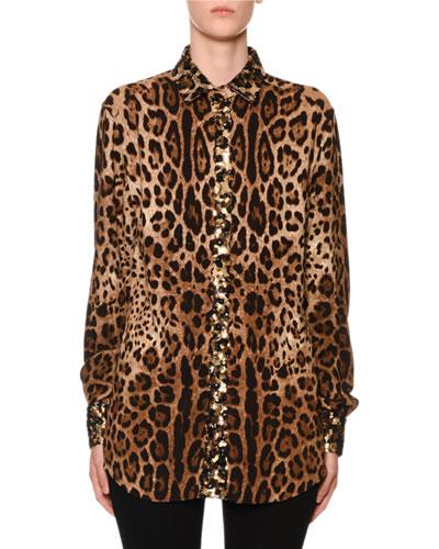 Leopard-Print Sequin-Trim Button-Front Blouse