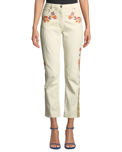 Mid-Rise Floral-Patch Crop Jeans