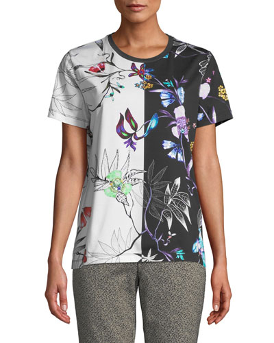 Embroidered Short-Sleeve Tropical-Floral T-Shirt