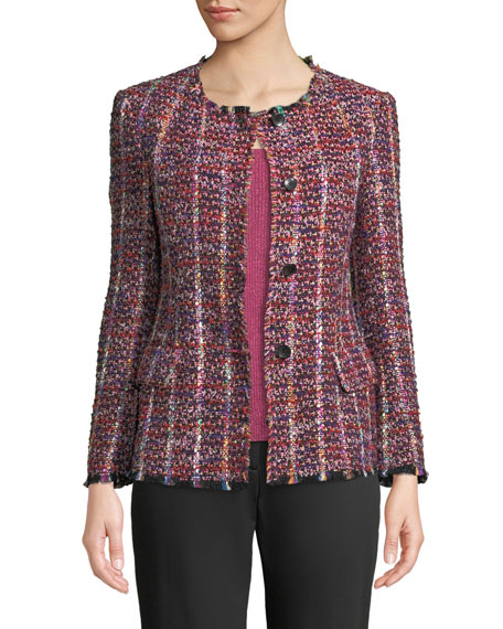 Etro Crewneck Tweed-Striped Jacket