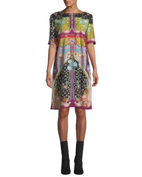 Etro Garden Of Eden 1/2-Sleeve Sheath Dress