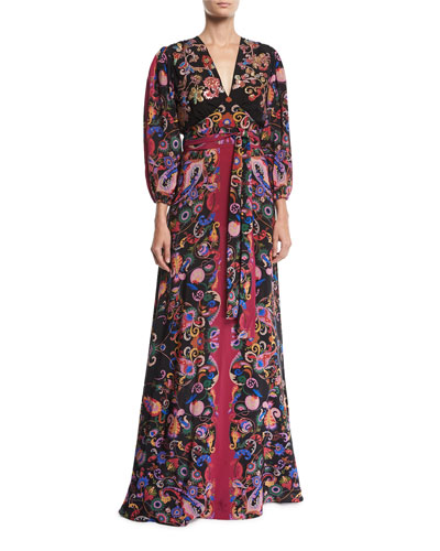 3/4-Sleeve Floral Paisley V-Neck Gown
