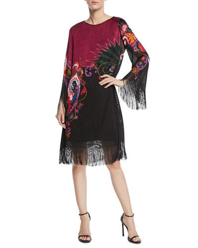 Paisley Knit Fringed Bell-Sleeve Shift Dress