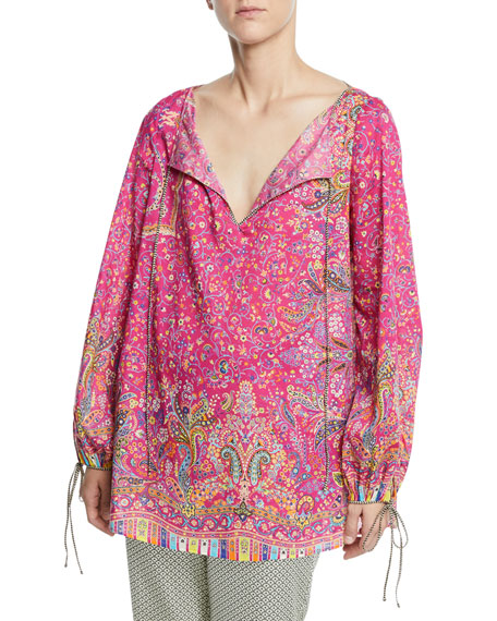 Etro Micro-Floral Cotton Peasant Blouse