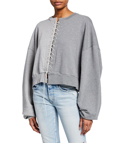 Two-Tone Lace-Up Sweatshirt