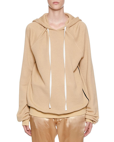 Shoulder Cutout Cotton-Cashmere Hoodie