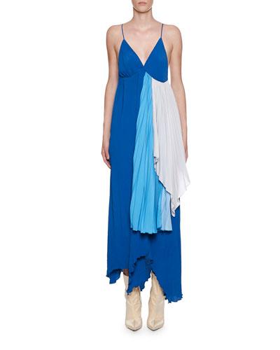 Strappy Tri-Tone Draped Crepeon Dress