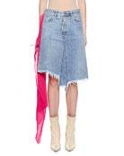 UNRAVEL Raw-Trim Denim Skirt with Pleated Chiffon Scarf