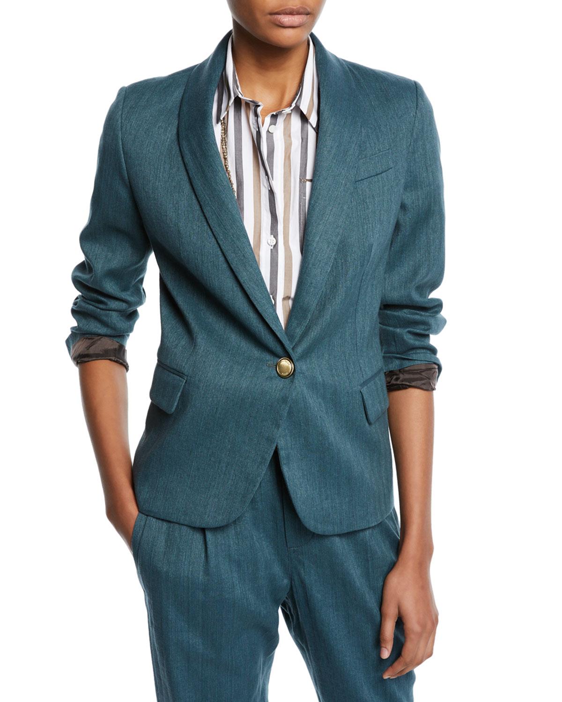 Monili-Collared Chevron Cotton-Linen Button-Front Blazer in Blue