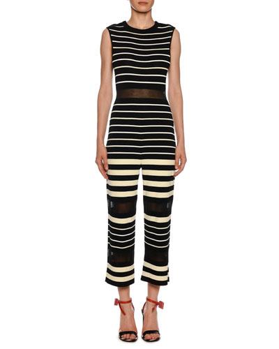 Sleeveless Striped Jumpsuit