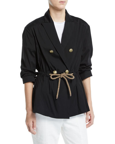 Rope-Waist Double-Breasted Poplin Blazer