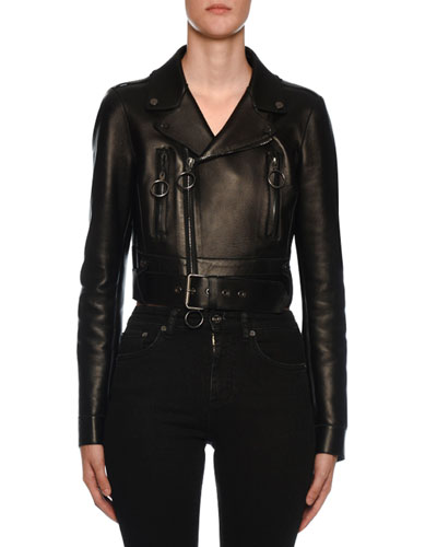 Embossed-Back Leather Biker Jacket