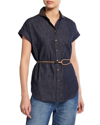 Cap-Sleeve Embroidered-Collar Denim Shirt
