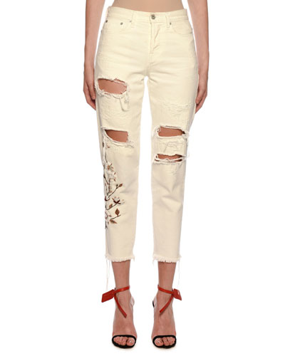 Floral-Embroidered Ripped Boyfriend Jeans, Ecru