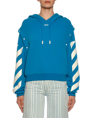 Diagonal-Striped Sleeve Sweatshirt