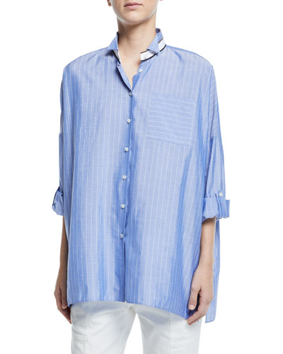 Chambray Button-Front Banded Collar Blouse