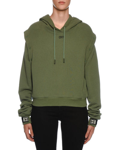 Snap-Off Sleeve Hooded Sweatshirt, Olive