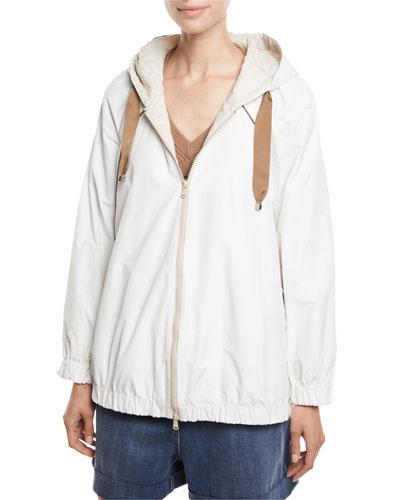 Monili-Seamed Taffeta Zip-Front Jacket
