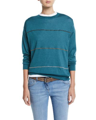 Multicolor Monili-Striped Cashmere-Silk Sweater