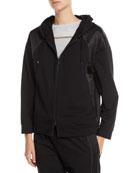 Brunello Cucinelli Zip-Front Hoodie Sweatshirt Jacket w/ Satin