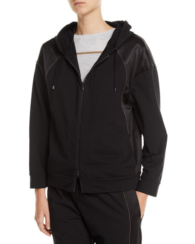 Zip-Front Hoodie Sweatshirt Jacket w/ Satin Trim