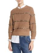 Brunello Cucinelli Paillette-Striped Ribbed Pullover Sweater