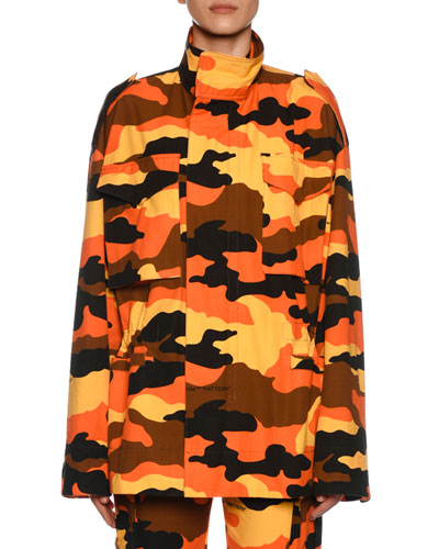 Camo Canvas Anorak Coat