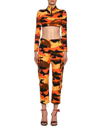 Long-Sleeve Camo Mock-Neck Rashguard Swim Shirt