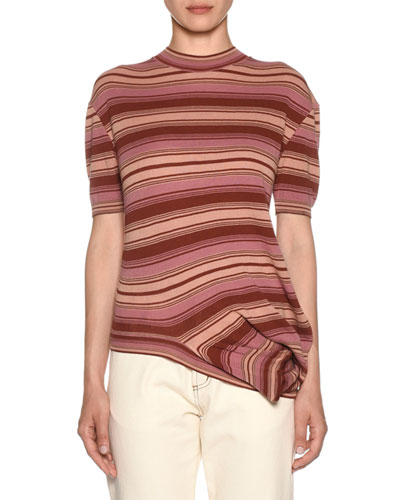 Asymmetric-Hem Short-Sleeve Crewneck Striped Knit T-Shirt