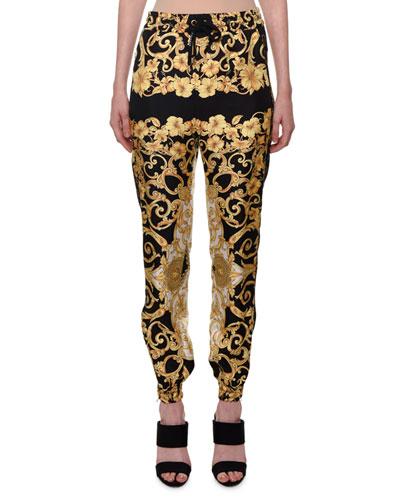 Hibiscus-Print Silk Jogger Pants
