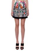Versace Pleated Multi-Print Silk Mini Skirt