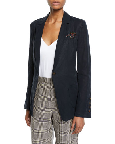 One-Button Cotton Organza Blazer with Sunburst Detail
