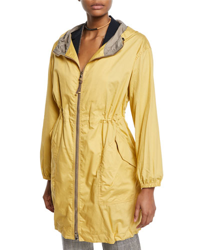 Hooded Taffeta Zip-Front Coat