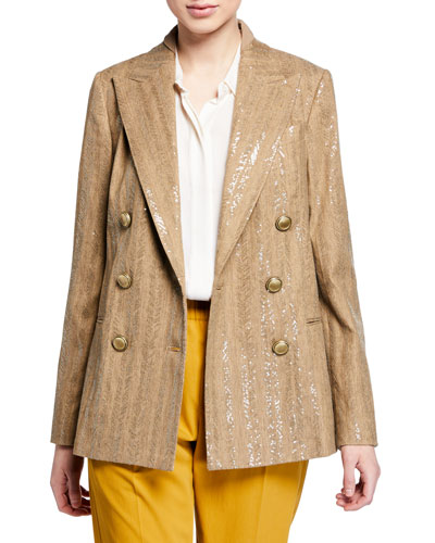 Chevron Striped Cotton-Linen Sequined Jacket