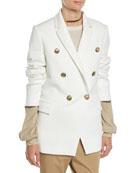 Brunello Cucinelli Double-Breasted Jersey Couture Blazer w/ Brass