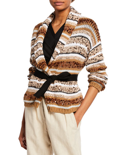Sequined Striped Belted Cardigan