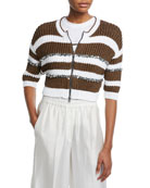 Brunello Cucinelli Pailletteed-Striped Ribbed Zip-Front Cardigan