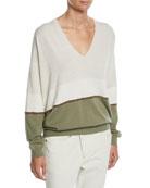 Brunello Cucinelli V-Neck Long-Sleeve Bicolor Cashmere Pullover