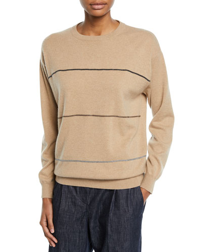 Crewneck Long-Sleeve Horizontal-Striped Cashmere Sweater