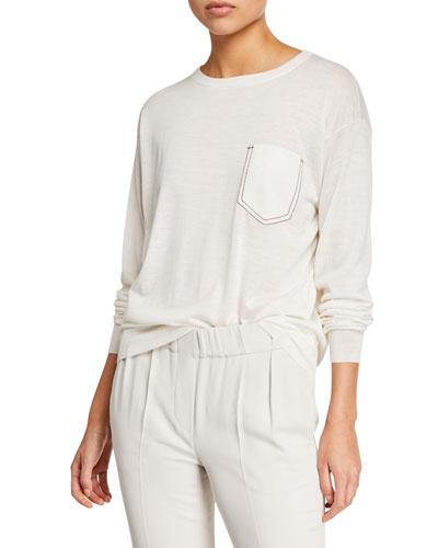 Monili-Pocket Long-Sleeve Cashmere-Silk Tee