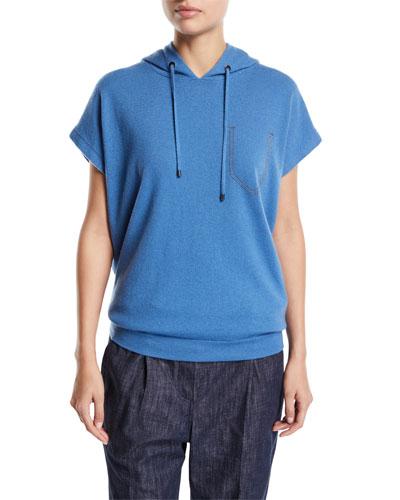 Hooded Cap-Sleeve Sweatshirt