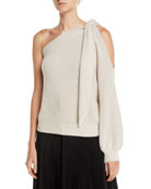 Brunello Cucinelli Knotted One-Shoulder Ribbed Cotton Sweater and
