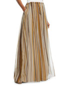 Brunello Cucinelli Striped Organza Long Skirt