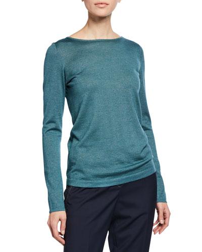Boat-Neck Long-Sleeve Metallic-Knit Pullover