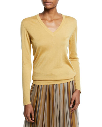 V-Neck Long-Sleeve Cashmere-Silk Pullover