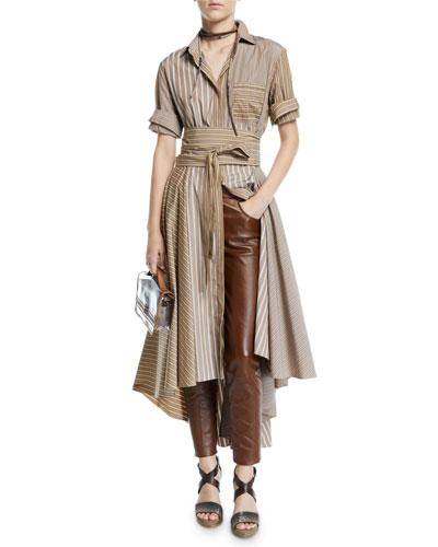 Belted Striped-Poplin Shirtdress