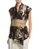 Brunello Cucinelli Sleeveless Foiled Floral Blouse w/ Canvas