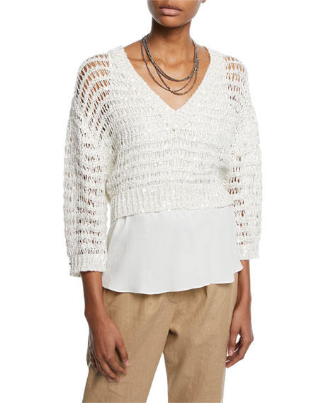 Brunello Cucinelli Sequined Netted V-Neck Sweater w/ Underpinning