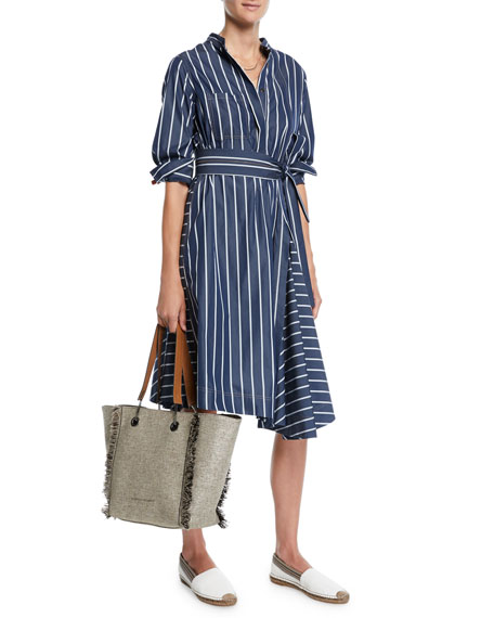 Brunello Cucinelli Pinstriped-Poplin Midi Shirtdress